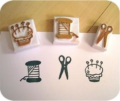 Sewing Kit Set of 3 Handcarved Rubber Stamps by lovesprouts, Stencil, Homemade Stamps, Make Your Own Stamp, Eraser Stamp, Fabric Stamping, Rubber Stamping, Craft Sites, Clay Stamps, Stamp Carving