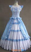 Victorian Elegant Ball Gowns | Victorian Gothic Lolita Cotton Sky Blue Dress Ball Gown