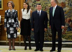 From left: Queen Sofia of Spain, Queen Rania, King Abdullah of Jordan and King Juan Carlos of Spain at the Zarzuela Palace on October 18, 2008 in Madrid, Spain.