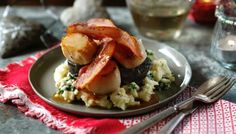 Scallops with Bacon Black Pudding Colcannon by Si King & Dave Myers, aka The Hairy Bikers, was featured on their BBC show Hairy Bikers' Best of British. Colcannon Recipe, Hairy Bikers, Black Pudding, Bacon Sausage, Scallop Recipes, Grilled Vegetables, Cooking Recipes, Uk Recipes, Savoury Recipes