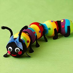 Make this caterpillar with a sock and styrofoam balls.