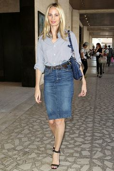 Love a denim pencil skirt