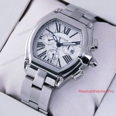 Replica Cartier Roadster Chronograph SS Silver Dial Mens Watch