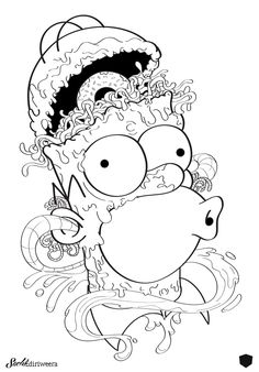 Imagine Homer Simpson as a zombie on LSD. Simpsons Drawings, Simpsons Art, Cartoon Drawings, Cartoon Art, Simpsons Tattoo, Disney Coloring Sheets, Free Adult Coloring Pages, Cute Coloring Pages, Psychedelic Drawings