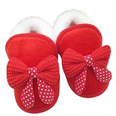 Newborn Infant BebeToddler Girls Warm New Bow Snow Shoes Baby Walker Crib Boots For Newborns