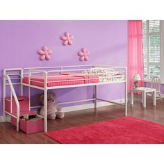 DHP Junior Loft with Steps and Storage - Pink - Little girls will adore the DHP Junior Loft with Steps and Storage - Pink because, well, it's cute as a button and pretty in pink, and...