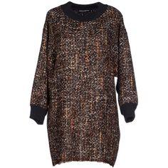 Dolce & Gabbana Short Dress (26,125 THB) ❤ liked on Polyvore featuring dresses, rust, multi colored dress, brown dress, long sleeve dresses, multi color dress and mini dress