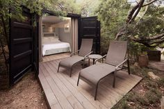 Kinda fun:  Revamped container with bedroom and bathroom rolled into one.