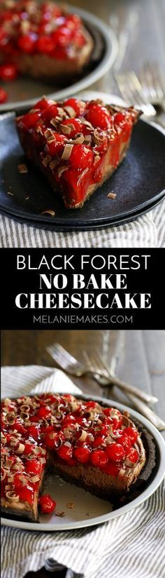My Black Forest No Bake Cheesecake takes just 10 minutes to prepare and is a must for chocolate lovers! An Oreo crust holds a pool of decadent chocolate ganache before being filled with a chocolate cheesecake filling, topped with cherry pie filling and sh No Bake Cheesecake, Chocolate Cheesecake, Chocolate Desserts, Cheesecake Recipes, Chocolate Lovers, Mini Desserts, Easy Desserts, Delicious Desserts, Yummy Food
