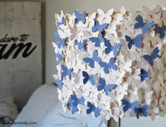 Transform a lampshade using paper butterflies