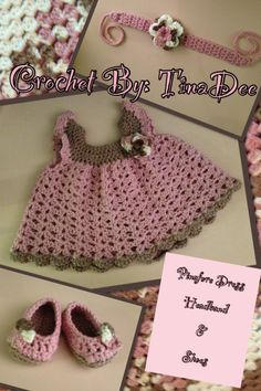 Crochet By:TinaDee Blanket with a Pinafore Dress, headband, and shoes set Dress pattern: http://www.bevscountrycottage.com/angel-wings-pinafore.html