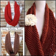Lacy Infinity Scarf Knitting Pattern - DIY Christmas Gift Lacy Cowl Circle Scarf Handmade Knitted WWKIP Day by IndustrialWhimsy on Etsy https://www.etsy.com/listing/253866091/lacy-infinity-scarf-knitting-pattern-diy