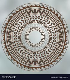Illustration about Meander and wave. Set of circular ornaments. Illustration of vector, ornament, geometric - 57147972 Greek Drawing, Greek Mythology Tattoos, Ancient Greek Art, Ancient Greek Tattoo, Greek Symbol, Greek Pattern, Muster Tattoos, Greek Design, Mandala Drawing