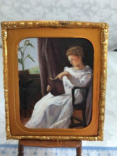 """Terry Rowe - painting """"Girl Reading"""" after George Cochran Lambdin, 1872"""