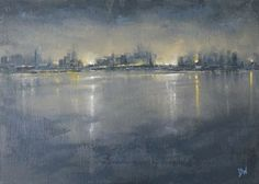 ARTFINDER: Nocturne: City Reflections by Dan Wellington - No.2 of three nocturnes capturing the glow of the lights and reflections as they stream across the water. Capturing how the colours and moods change as the l...