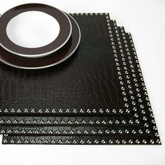 Having a BDSM diner ?... Faux Crocodile Placemats with Silver Studs