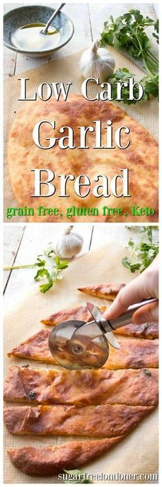 A tasty low carb garlic bread made with Fat Head (mozzarella) dough. Grain free, keto, gluten free and perfect for snacking!