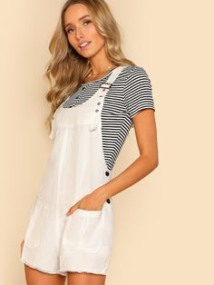 7f1e8cc0146 Shop Front Pockets Overall Romper WHITE online. SheIn offers Front Pockets  Overall Romper WHITE   more to fit your fashionable needs.