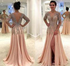 Deep V-Neck Split Beading Glitter Prom Dresses Chiffon Long Sleeves Evening  Dresses. Hoprom e541b5f75