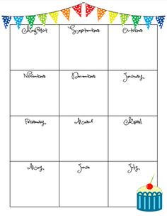 birthday chart template for classroom - printable birthday charts freebie for the teachers