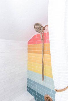 Iridescent Tile, Bathroom Inspiration, Bathroom Ideas, Budget Bathroom, Small Bathroom, Master Bathroom, Home Design, Interior Design, Beautiful Bathrooms