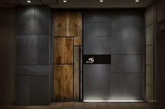 Ginza Steak TAJIMA Design by Doyle Collection - Architecture & Interior Design Ideas and Online Archives Main Door Design, Entrance Design, Shop Front Design, Wall Design, Store Design, Modern Entrance Door, Modern Front Door, Entrance Doors, Design Hotel