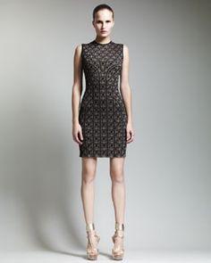 d1ad659adfd B25L2 Alexander McQueen Paneled Metallic Jacquard Dress Alexander Mcqueen  Dresses