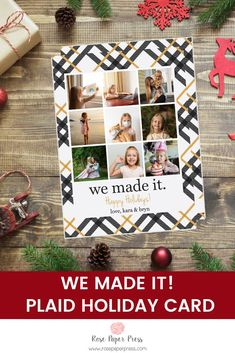 Celebrate that we made it through 2020 by sharing holiday greetings with golden plaid holiday photo cards. Need to add more pictures or share a detailed message? Add a complementary custom back upgrade. We design, personalize, and professionally print your holiday cards for you. Shop Holiday Cards today.