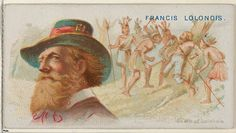 """Francis Lolonois, Death of Lolonois, from the """"Pirates of the Spanish Main"""" series (N19), for Allen & Ginter Brand Cigarettes, c1888."""