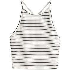 SweatyRocks Women's Striped Sleeveless Tank Crop Tops Halter Vest Blouse T-Shirt White One Size at Amazon Women's Clothing store: