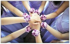 Make to order: 8 Shabby Chic Lavender Purple / Violet Purple and Pink Silk Camellia Bridesmaid Wrist Corsages, Wrist Bracelets