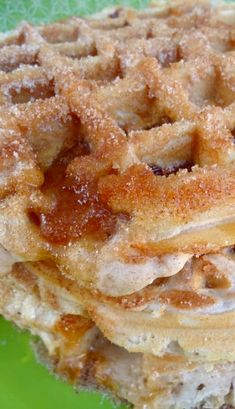 Churro Apple Pie Waffles- I don't know whether to pin these as breakfast or dessert! Just Desserts, Delicious Desserts, Dessert Recipes, Yummy Food, Waffle Desserts, Breakfast Desayunos, Breakfast Dishes, Food Trucks, Waffle Maker Recipes