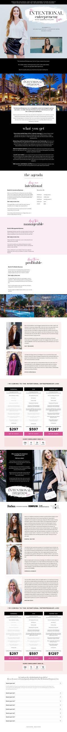 www.sabrinaphilipp.com/intentional-entrepreneur-live Entrepreneur, Live Events, Personal Branding, Page Design, Branding Design, Corporate Design, Identity Branding, Self Branding, Brand Design