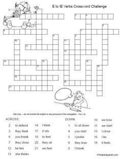 Printable Spanish FREEBIE of the Day: E to IE Verbs Crossword Puzzle #1 from PrintableSpanish.com