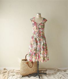 80s floral cotton garden party dress by bohemiennes on Etsy, $49.00