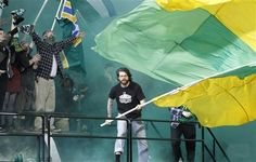 Portland Timber fans celebrate Portland Timbers' Kris Boyd score in the first half during an MLS soccer game with Chivas USA Saturday, April in Portland, Ore. Mls Soccer, Soccer Fans, Portland Timbers, Rose City, April 7, Sports News, Scores, Celebrations, Army