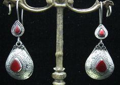 http://crafteast.com Vintage Carnelian Teardrop Afghan Kuchi Tribal Earrings,Belly Dancing,Ethnic Earring,Jewelry,Boho Gypsy Earrings,German Silver