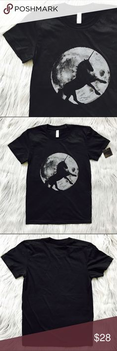 NWT Majestic Unicorn Tee Ugh I LOVE this shirt so much but it just doesn't fit me. Received as a gift.  Majestic unicorn rearing in front of a full moon.  Tag says medium but fits more like an XS/S.  Hoping this can find a new home ❤✌ Next-day shipping - Thanks for looking!  Check out the other great items in my closet right now! American Apparel Tops