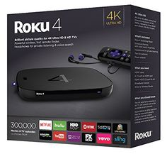$129.99 | Roku 4 Streaming Media Player (4400R) 4K UHD | 2,500+ streaming channels. Choose from the biggest selection of streaming entertainment, including movies, TV shows, music, sports, news, international, kids programming and more.