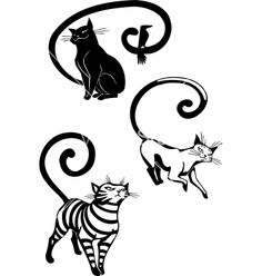 Stylized cats - elegance and graceful cats vector 1128618 - by dclipart on VectorStock®