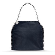 Stella McCartney Navy Falabella Shaggy Deer Small Tote (£680) ❤ liked on Polyvore featuring bags, handbags, tote bags, navy, navy tote, blue tote bag, navy blue handbags, navy handbag and tote purse