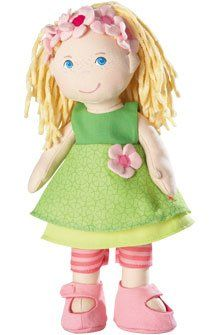 Mali brings a new light to the HABA doll family! She wears a pretty green patterned dress with pink accents. A blond haired and blue eyed doll!