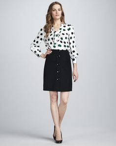 Loving the polka dots! reade bow-neck polka-dot blouse & faylin wool a-line skirt by kate spade new york at Neiman Marcus.