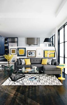 Interior home design, living room ideas, grey and yellow living room colors, diy interior design Home Living Room, Apartment Living, Living Room Designs, Living Spaces, Apartment Nursery, Nursery Office, Apartment Design, Dark Floor Living Room, Apartment View
