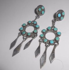 Navajo Earrings Sterling Silver Turquoise by Libbysmomsvintage