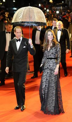 """Kate Middleton in black lace Alice Temperley for the London premiere of """"War Horse"""" in January."""