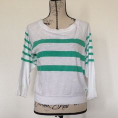 Comfy 3/4 Sleeve Striped Tee A great comfy tee to wear when you just want to dress casual. Back of the neck ties with a ribbon. Like new. American Eagle Outfitters Tops Tees - Long Sleeve