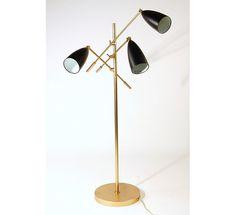 Floor lamp - Trilight    Metal frame  Adjustable powder coated shades     Use maximum 60 watt light bulb  Organic Modernism