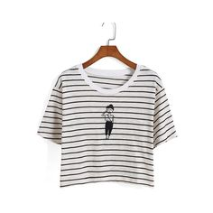 SheIn(sheinside) Striped Girl Print Crop T-shirt ($9.99) ❤ liked on Polyvore featuring tops, t-shirts, black, cotton t shirt, crop top, black crop top, striped crop top and black t shirt