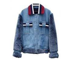 Jamie Wei Huang Lily Denim Jacket (74.160 RUB) ❤ liked on Polyvore featuring outerwear, jackets, denim, button jacket, denim jacket, embellished denim jacket, fur jacket and blue jean jacket
